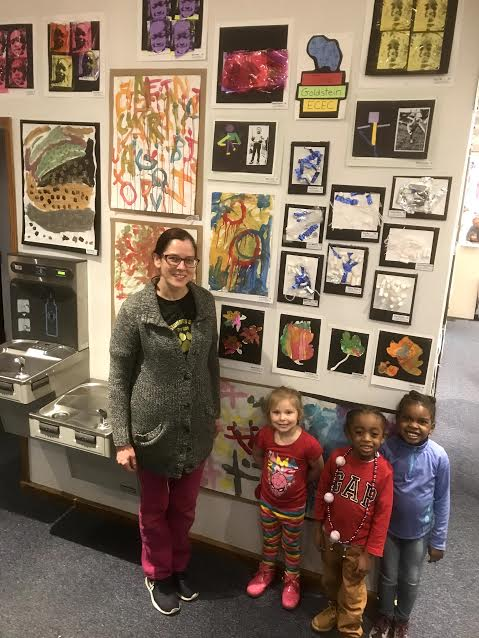 students at art show