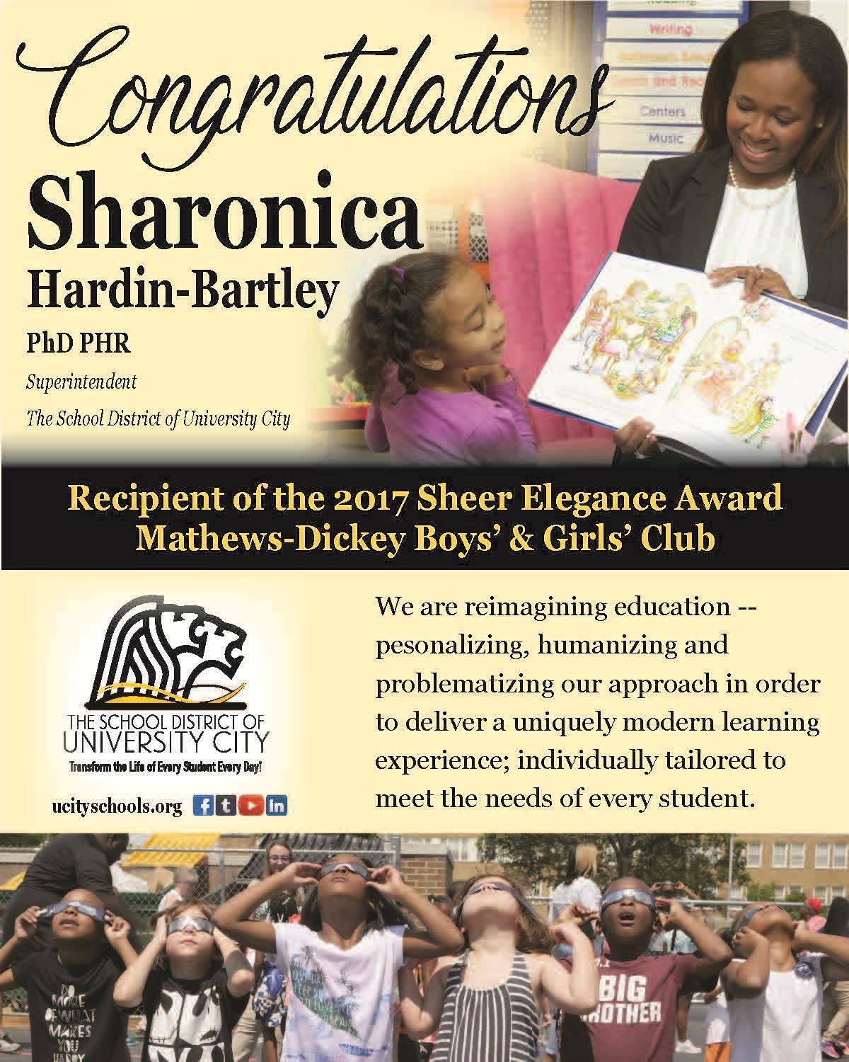 Congratulations Sharonica Hardin Barley add for program