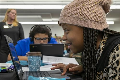 U City students participate in a coding activity on Dec. 3, 2018
