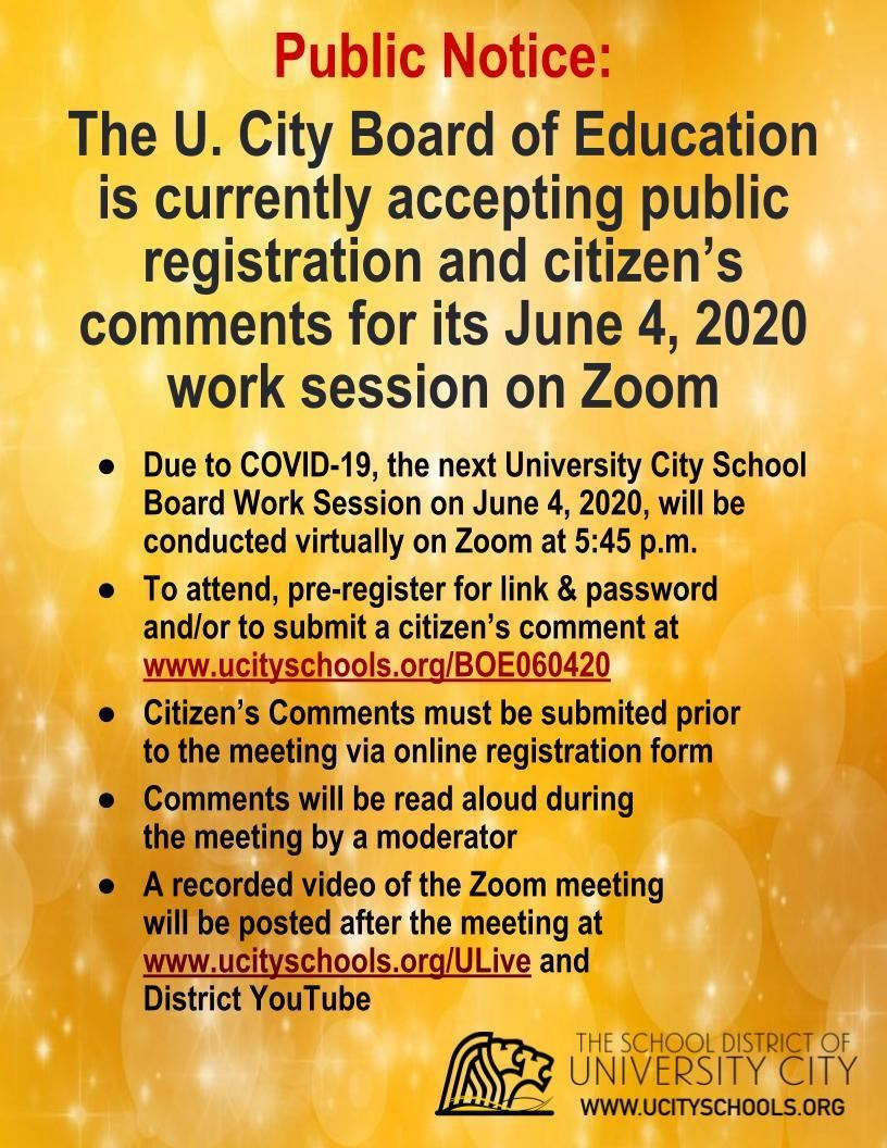 Zoom School Board Work Session - June 4, 2020