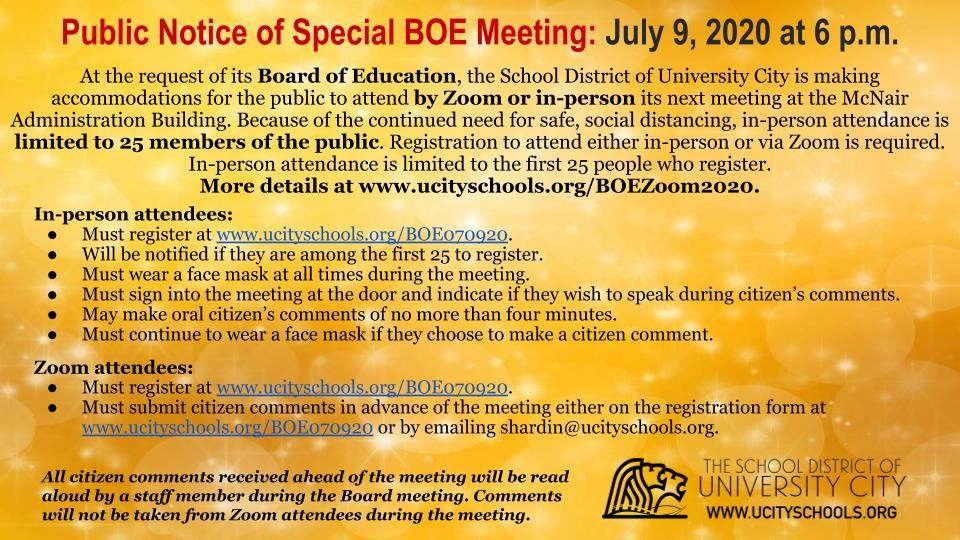 July 9 Special School Board Meeting To Provide In-Person and Zoom Attendance Options
