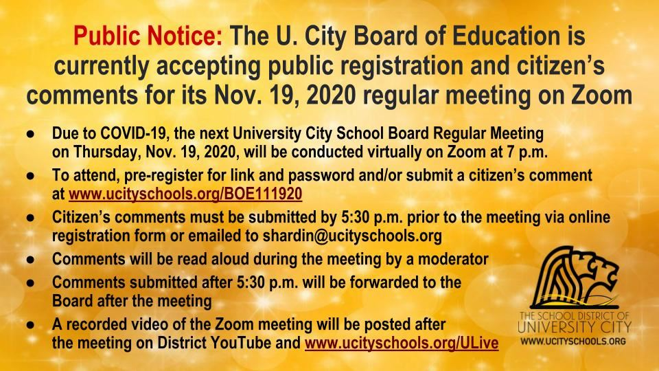 BOE 111920 Reg Mtg  Registration Citizen Comment