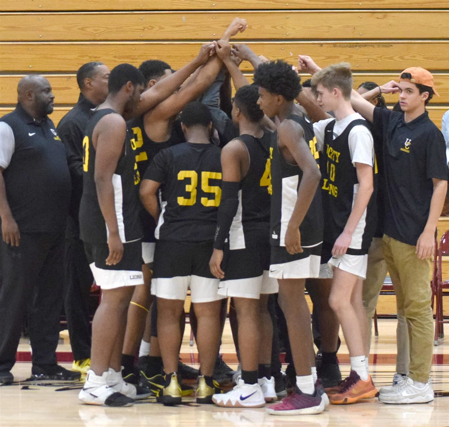 Boys Basketball Huddle