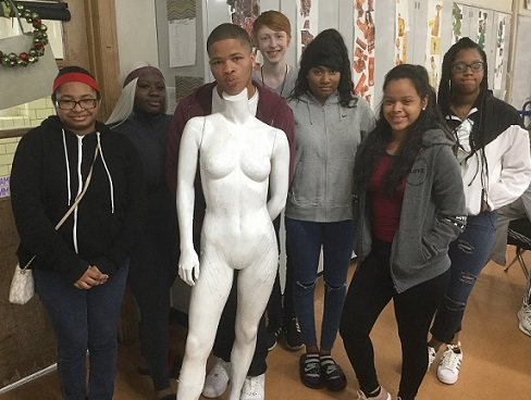 UCHS Students Outfit The Loop with Mannequins Decked Out in Recycled Materials