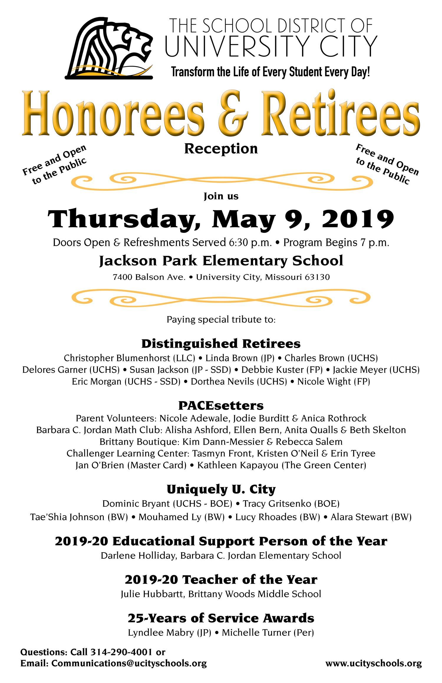Honorees Invite for May 9, 2019