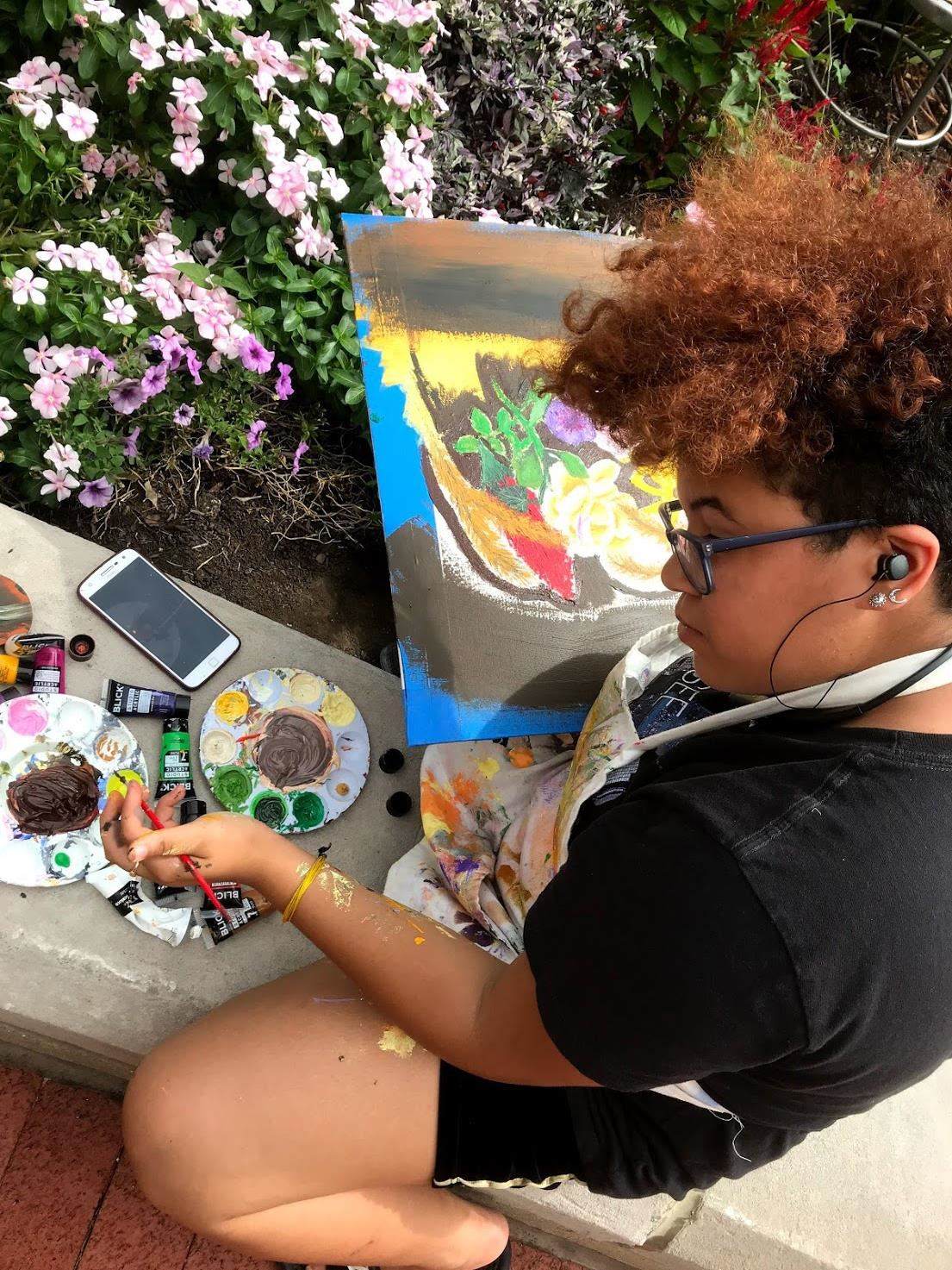 PleinAir 2019 student artist painting in garden