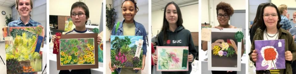 PleinAir 2019 six student artists with individual paintings