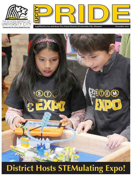 Dec. 2017 PRIDE cover of students engaged with lego robotic at Stem Expo