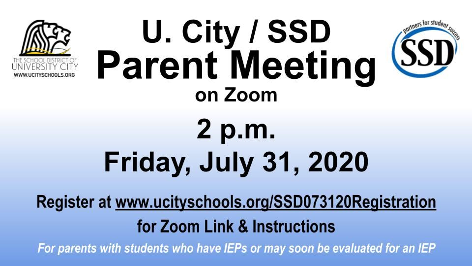 SSD Parent Information Meeting on Zoom flyer