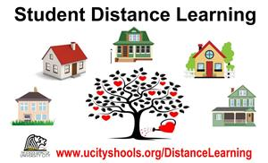 Distance Learning heart tree with houses