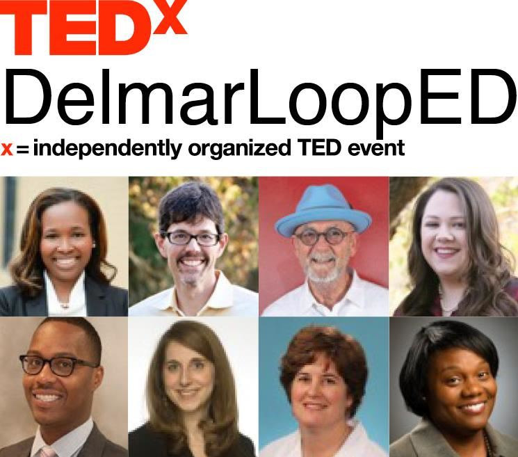 DelmarLoopED TEDx logo with photos