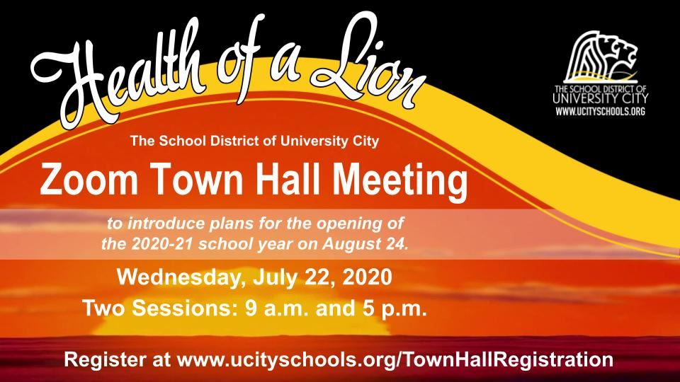 Zoom Town Hall Meeting: July 22, 2020 flyer