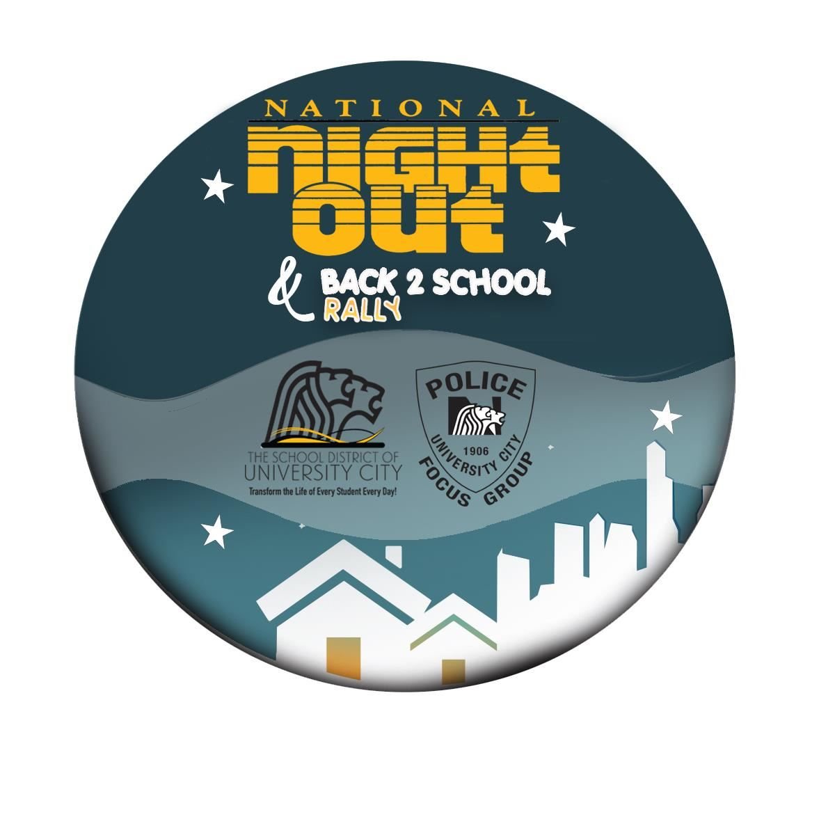 National Night Out & Back To School Rally Circle Button Logo