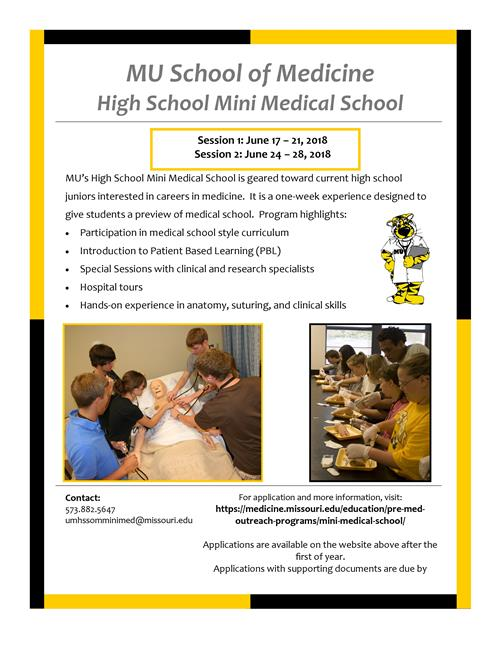 2018 Summer Opportunities / High School Mini Medical School at Mizzou